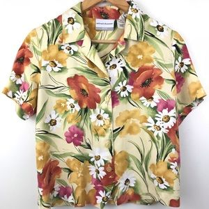 Alfred Dunner Button-up Floral Blouse Tropical 6P